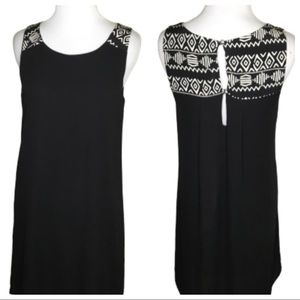 Needle & Thread Black Shift Aztec Print Dress. SM